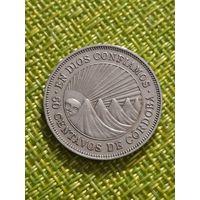Никарагуа 50 сентаво 1954 г ( на гурте надпись ,1974 г рубчатый )