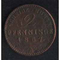 Германия Пруссия 2 пфеннига 1867 г. А (*). Состояние на фото!!!