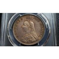 Англия двойной флорин 1887 год (серебро) MS62