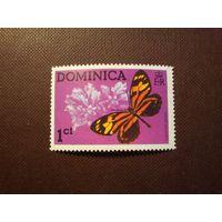 Доминика 1975 г.Бабочка Lycorea Церера .