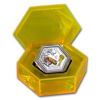 """Новая Зеландия 1 доллар 2018г. """"Пчела. Мёд Манука"""". Монета в капсуле; подарочном футляре; сертификат; коробка. СЕРЕБРО 31,10гр.(1 oz)."""