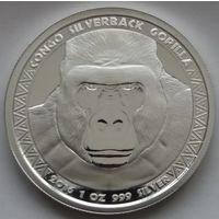 "Конго 2016 серебро (1 oz) ""Горилла"" (в капсуле)"
