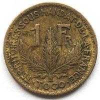 Того 1 франк 1925 года (случайная монета). F-XF