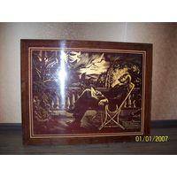 """Раритет.Картина """"Ленин в кресле"""".дерево.Подписана.Размер 69х54 см"""