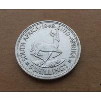 """Южная Африка, 5 шиллингов 1948 г., надпись """"5 SHILLINGS"""", серебро"""