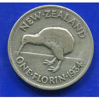 Новая Зеландия 1 флорин(2 шиллинга) 1934,серебро, Georg V