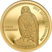 """Монголия 500 тугриков 2015г. """"Сокол"""". Монета в капсуле. ЗОЛОТО 0,5гр."""