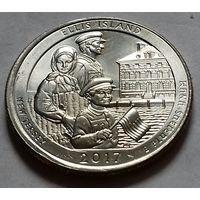 25 центов, квотер США, остров Эллис, P D (штат Нью-Джерси)