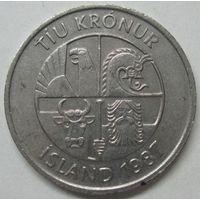 Исландия 10 крон 1987 года