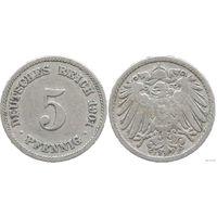 YS: Германия, Рейх, 5 пфеннигов 1901F, KM# 11