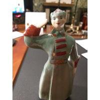 Статуэтка Красноармеец Буденновец старая Барановка конец 40-х - начало 50-х БЕЗ МЦ с рубля