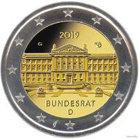 2 евро 2019 Германия D 70 лет Бундесрату UNC из ролла