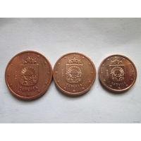 1, 2, 5 евроцентов, Латвия 2014 г., AU