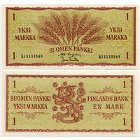 Финляндия. 1 марка (образца 1963 года, P98, подпись 1, UNC)