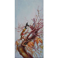 Картина маслом 106 птичка 40х80