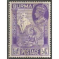 Бирма. Король Георг VI. Карта страны. 1946г. Mi#68.