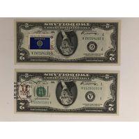 2 купюры по 2 доллара 1976 года со спецгашением