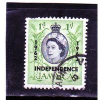 Ямайка. Ми-184.Пальмовые деревья. Серия: Королева Елизавета II и местные сцены (1956-58). Надпечатка - независимость.