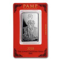 Швейцария  2018 , серебро , PAMP, год собаки , 1 унция
