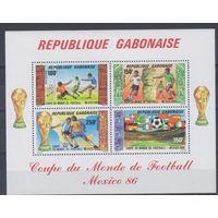 [1846] Габон 1986. Спорт.Футбол.Чемпионат мира. БЛОК.