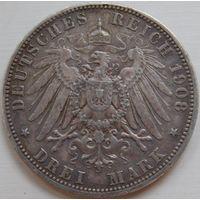 25. Пруссия 3 марки 1908 год, серебро.