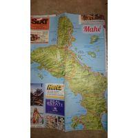 Карта Сейшильских островов (Маэ, Ла Диг, Праслин)