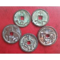 Лот храмовых монет старого Китая