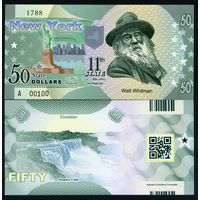 США - 50 Dollars - 11 штат New York - 2014 - Polymer - UNC