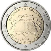 2 евро Финляндия 2007 50 лет подписания Римского договора UNC из ролла