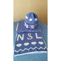 Шапка и шарф бело-голубые