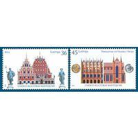 ЛАТВИЯ- Latvia \117\ 2007 Ганзейские города, совместный выпуск с Германией 2 марки MNH