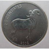 Конго 25 сантимов 2002 г. Животные. Гривистый баран