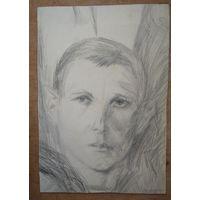 Пономаренко Леонид. Портрет юноши. 30х43 см. Рисунок. Картон, карандаш.