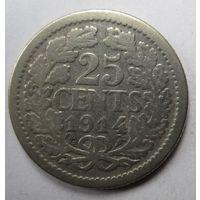 Нидерланды. 25 центов 1914. Серебро. 254