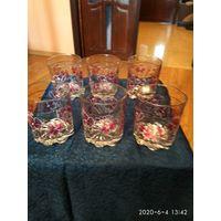 Стеклянные стаканы комплект 6 штук под виски Италия.