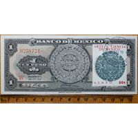 Мексика 1 песо (1959 года, АU, Банкнота франкирована маркой, штемпель гашения. 21.11.1973г.)