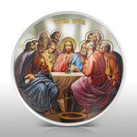 """Ниуэ 2 долларa 2012г. """"Тайная Вечеря"""". Монета в капсуле; шикарном деревянном подарочном футляре; номерной сертификат; коробка. СЕРЕБРО 31,135гр.(1 oz)."""