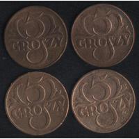 Польша 5 грошей 1923,1923 (латунь),1935 г. (*). Неплохие!! Цена за 1 шт.