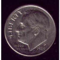 1 дайм 1989 год США Р