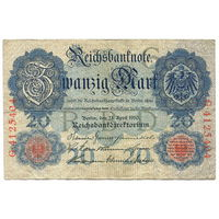 20 марок 1910 года, серия G-G (7 цифр), Германия