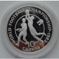 Теркс и Кайкос 10 крон 1982 года. Футбол. Серебро. Пруф! Идеальное состояние!