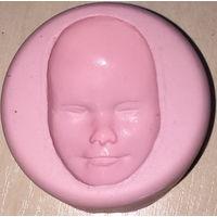 Лицо голова куклы. Силиконовая форма, молд. Для отливки свечей, торта, мыла, гипса, льда