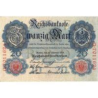 Германия, 20 марок, 1914 г. UNC