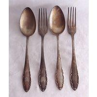 Набор столовых приборов Ложки 2 шт + Вилки 2 шт Серебрение Gottlieb Wellner GOWE Германия Монограмма