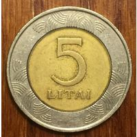 Литва, 5 лит 1998, биметалл