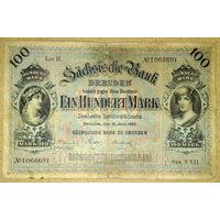 Саксония 100 марок 1890г.  -редкая-