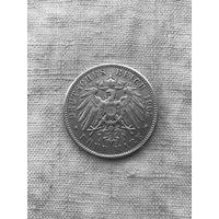 Германия Вюртемберг 5 марок 1908г.