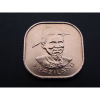 """Свазиленд. 2 цента 1975 год КМ#22 """"Правитель Король - Собуза II"""""""