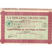 La Holding Francaise H.O.L.F.R.A., холдинг, акции на 100 франков, Париж, 1928 г.