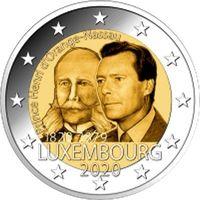 2 евро 2020 Люксембург 200 лет со дня рождения принца Генриха Оранско-Нассауского UNC из ролла НОВИНКА